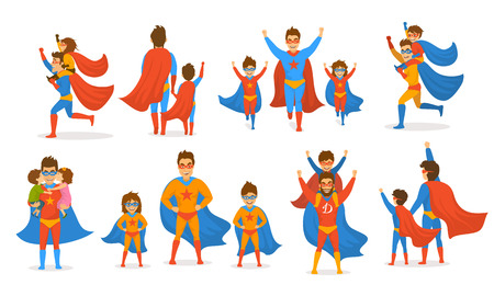 happy fathers day concept isolated vector illustration scenes set, dad and kids, boy and girl playing superheroes, dressed  in super hero costumes