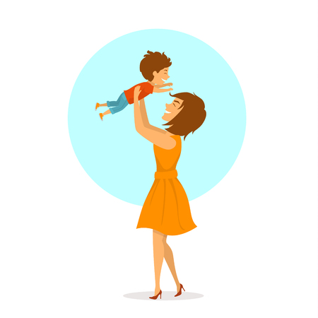 happy cheerful mother and baby son playing together, mom lifting up her child in the air, isolated cute cartoon vector illustration, mothers day scene
