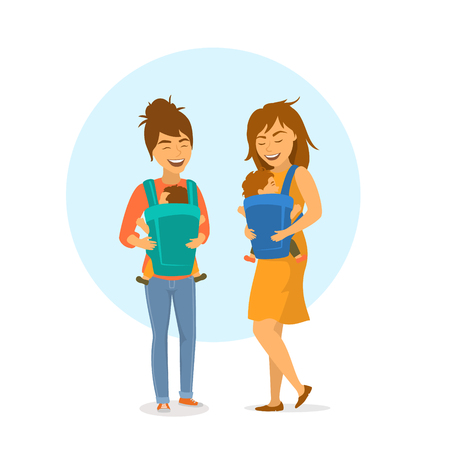 two cute friends women mothers with baby slings wraps and kids isolated vector illustration scene