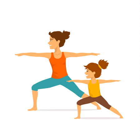 mother and daughter, woman and girl child doing yoga exercises, standing in warrior two position, isolated vector illustration sport scene
