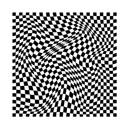 abstract wavy twisted distorted squares checkerd black and white texture background