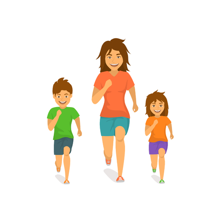 mother son and daughter running jogging together front view isolated cartoon vector illustration scene  イラスト・ベクター素材