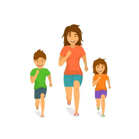 Mutter Sohn und Tochter laufen zusammen Vorderansicht Vorderansicht isoliert Vektor-Illustration Szene Standard-Bild - 99186272