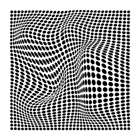 set of abstract wavy twisted distorted dots black and white texture