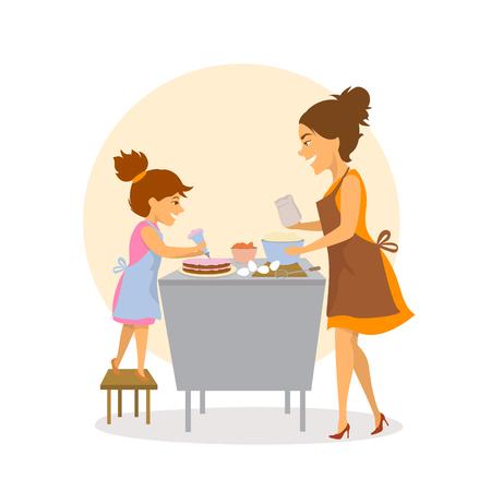 madre e hija horneando pasteles juntos en la cocina en casa aislada escena de ilustración de vector de dibujos animados lindo