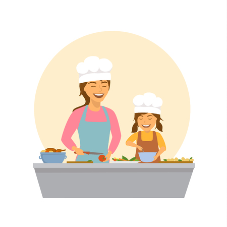 cute smiling mother and daughter cooking together isolated vector illustration scene