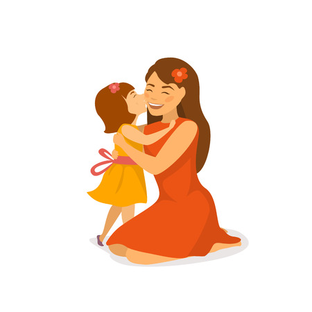 cute daughter kissing and hugging her mom, mothers day greeting cartoon vector illustration isolated scene Stock Illustratie