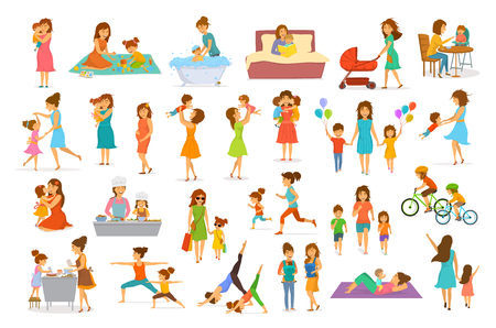 Schattige cartoon moeder en kinderen geïsoleerde vector illustratie scènes ingesteld, moeder met dochter zoon kinderen baby kok, bakken, spelen rit fiets, maken oefening sport run yoga dans knuffel kus lopen, winkelen, lees boek Stockfoto - 99136288