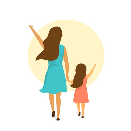 mother and daughter walking together holding hands, backside rear view isolated vector illustration scene Illustration