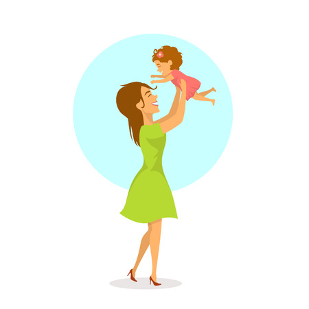 happy cheerful mother and baby daughter playing, mom lifting up her child in the air, isolated cute cartoon vector illustration, mothers day scene