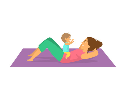 mother exercising together with her baby,woman doing postnatal workout cute isolated vector illustration scene Illustration