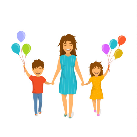 cute cheerful mother and children, boy and girl walking with balloons together holding hands, happy mothers day isolated cartoon vector illustration scene