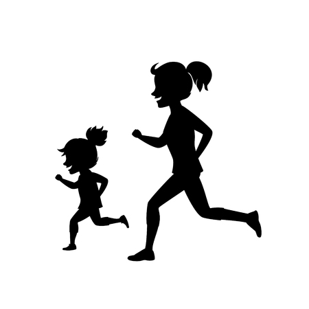 Mother and daughter jogging together in black silhouette scene with white backdrop illustration.