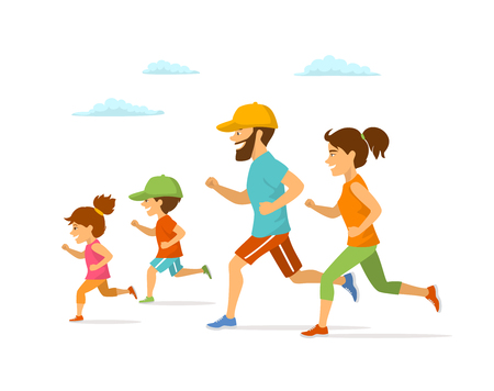 Cute cheerful cartoon family jogging together on colored illustration.