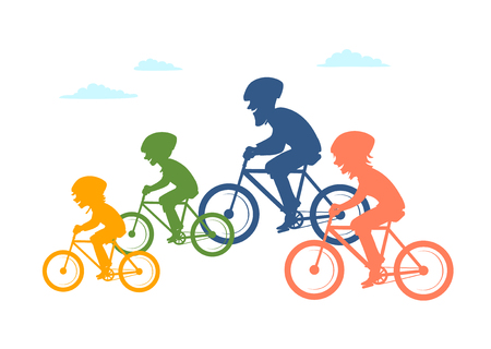 Cartoon family cycling together on colored illustration.