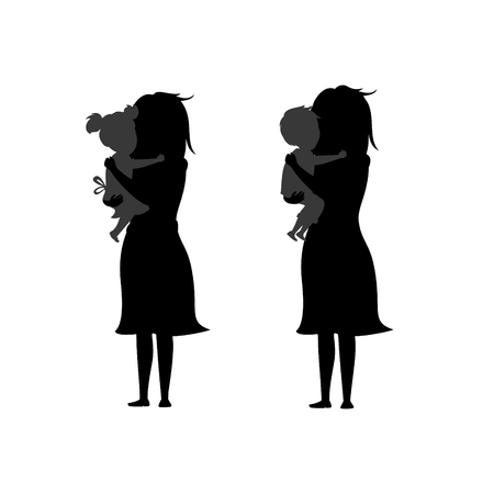Daughter and son hugging mothers on silhouette black with white background illustration.