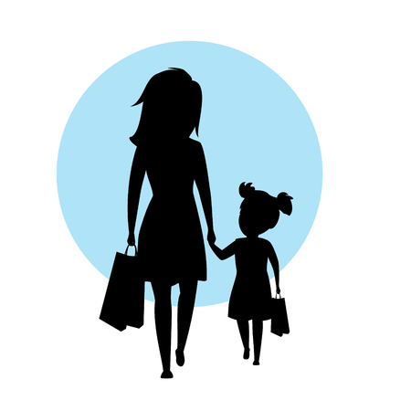 Mother and daughter walking together with shopping bags holding hands on silhouette black illustration.
