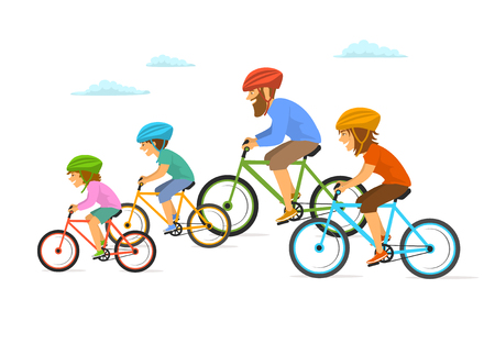 Cute cheerful cartoon family cycling together on colored illustration.