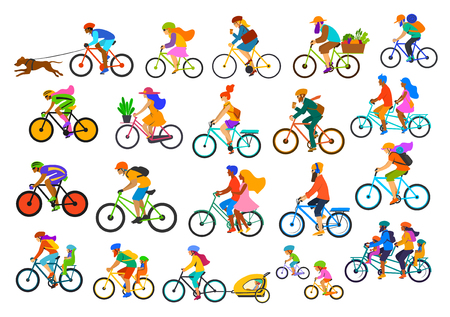 Bright colorful different active people riding bikes collection.