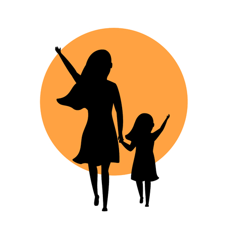 Mother and daughter walking together on silhouette back side view illustration.