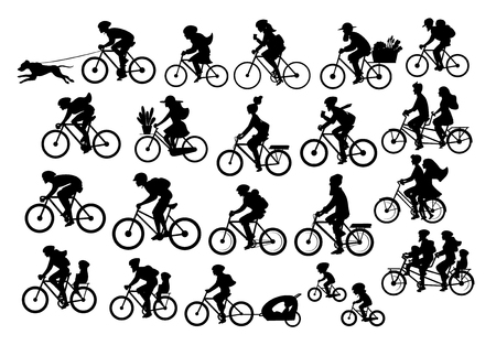 Different active people riding bikes silhouettes collection. Illustration