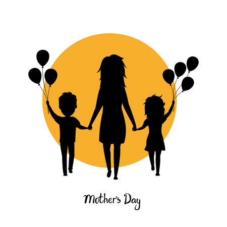 Mother and children walking with balloons together holding hands on silhouette black illustration.