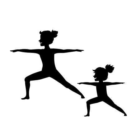 mother and daughter, woman and girl child doing yoga exercisese