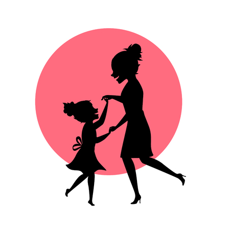 mother and daughter dancing together silhouettes vector illustration scene
