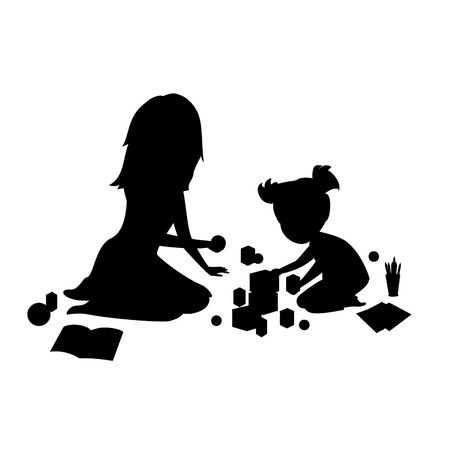 mother and daughter sitting on the floor playing games vector illustration silhouette scene Illustration