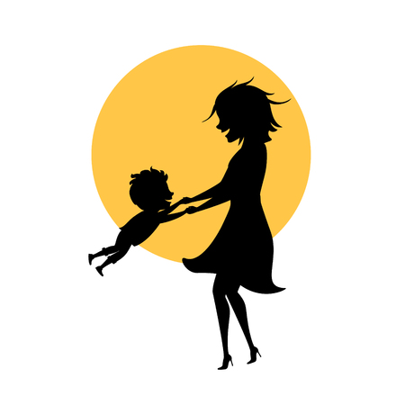 mom and son playing together isolated vector illustration mothers day silhouette scene Illustration
