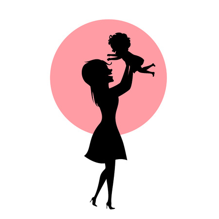l mother and baby daughter playing, mom lifting up child in the air, silhouette vector illustration, mothers day scene