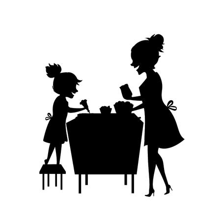 madre e hija, mujer y niño hornear juntos silueta ilustración vectorial escena en color negro