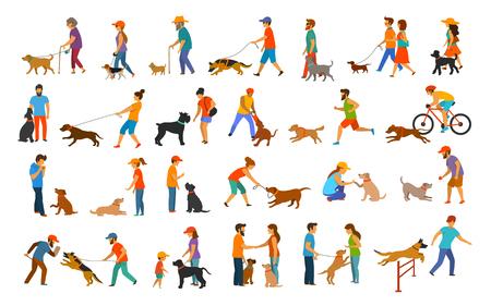 mensen met honden grafische collectie. man vrouw training hun huisdieren basis gehoorzaamheid commando's zoals zitten leggen geven poot lopen dichtbij, oefenen rennen sprong barrière, bescherming, rennen spelen en lopen, onderwijs geïsoleerde vector illustratie scènes set