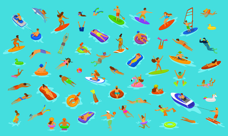 people man and woman, girls and boys swimming in floats mattress, diving into sea, water, pool or ocean. Summer beach vacations scenes constructor with fun cartoon humans collection over blue background