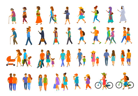 graphic collection of people walking.family couples,parents, man and woman different age generation walk with bikes,smartphones, coffee,eat,texting,talking, side back and front views isolated vector illustration scene set Illustration