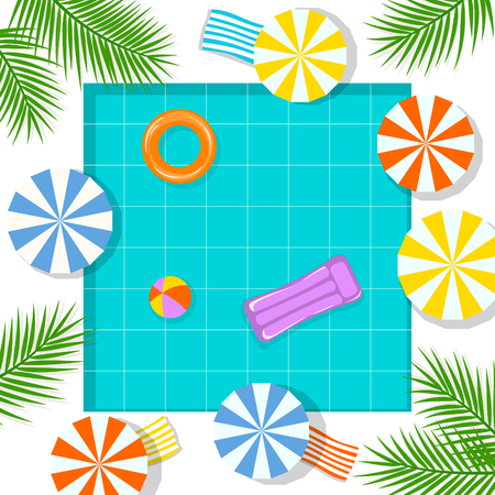 summer time beach vacation swimming pool background , top view from above Banque d'images - 115043546