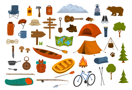 camping hiking gear and supplies graphics set Stock Vector - 104274718