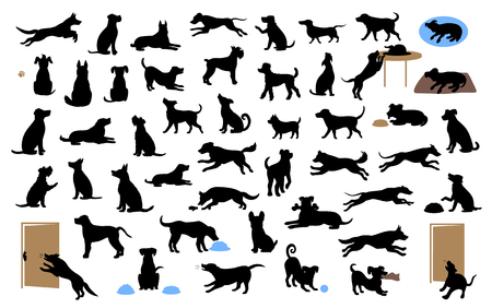 different dogs silhouettes set, pets walk, sit, play, eat, steal food, bark, protect run and jump, isolated vector illustration  over white background