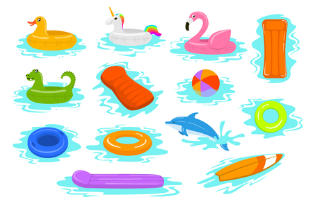 summer time beach sea vacation holidays inflatable floats rings tubes mattress set Vetores