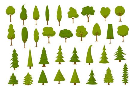 different cartoon park forest pine fir trees set