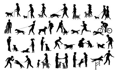 people with dogs silhouettes graphic set.man woman training their pets basic obedience commands like sit lay give paw walk close, exercising run jump barrier, protection, running playing, walking, teaching isolated vector illustration scenes Vectores