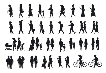 sihlouettes set of people walking.family couples,parents, man and woman different age generation walk with bikes,smartphones, coffee,eat,texting,talking, side back and front views isolated vector illustration scene Illustration