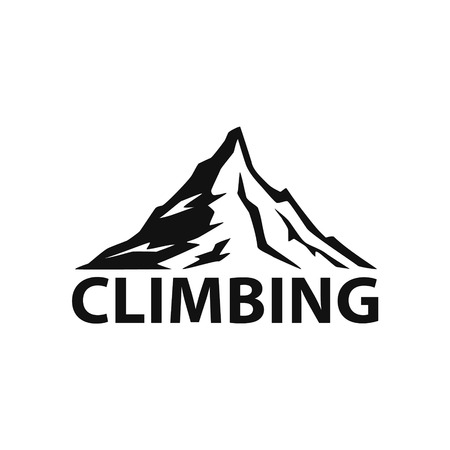 climbing mountain  silhouette  logo isolated vector illustration graphic in black color Illustration