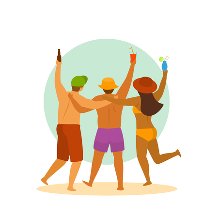 gente de playa en horario de verano, tres amigos tienen fiesta, celebrando, escena de ilustración de vector aislado de dibujos animados de vista trasera