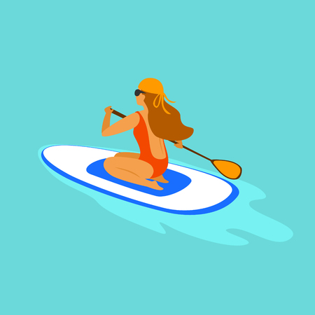 girl paddleboarding, sitting paddling on a board in the sea graphic Illustration