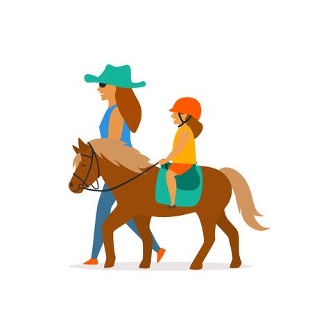 gráfico de vector de pequeña niña montando pony Ilustración de vector