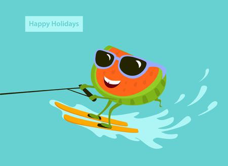 cute fun cartoon watermelon waterskiing on vacation vector iluustration Illustration