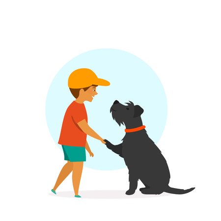 boy and dog greeting scene, cute isolated vector illustration Stock Vector - 114703473