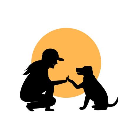 donna e cane saluto grafica silhouette Vettoriali