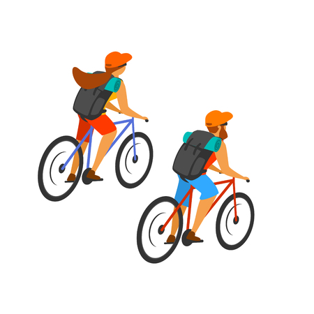 man and woman cross country mountain biking isolated vector graphic